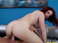 Press play on this hardcore scene where the horny redhead Jessica Ryan has her tight pink pussy drilled by this guy's thick cock.