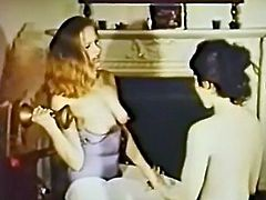 Blond head bosomy whoe and her dark haired voracious sex pot girlie set on fingering dreadfully haired twats of one another on table in living room.. Take a look at these fuck starving babes in The Classic Porn sex clip!