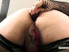 Poison is a chubby latina and she is wearing sexy fishnets for you. She shows her juicy ass and uses her favorite toy to stick it deep into her horny asshole.