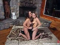 Harmony, Penny Flame and one more chick are having fun indoors. They stroke each other's hot bodies and then enjoy being banged by the fucking machine.