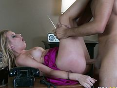 Broad assed seductive bonny blond slut gets sweet pussy eating and energetically poked on table.Then she gets her hungry mouth powerfully pounded by that honey sweet cream stick! Take a look at this bitchy hoe in Brazzers Network porn video!