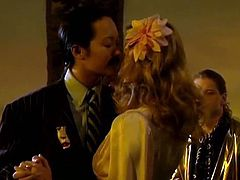 Man looking Asian sultry babe dances with eye catching blond head wench.Brutal guy look at them passionately. One of these hotties removes her dress and demonstrates her divine honey sweet boobs... Watch this awesome chicks in The Classic Porn sex clip!