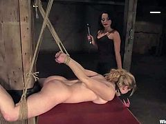 Naughty blonde girl gets undressed and then tied up by Sandra Romain. Sandra shoves a hook in Tawni's ass and then toyed her with a strap-on.