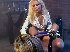 Dirty babes in latex costumes are masturbating one another during top lesbian BDSM show