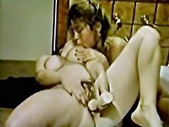 Dark haired rapacious wenches take bath. They want to fuck a lot. One of them takes massive masturbator and passionately drills her