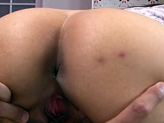 If you are into Japanese girls then this amazing sex video is worth your attention. This milk-skinned enchantress knows that she is driving her lover crazy. She makes him worship her hairy pussy. Then she pleases him with a blowjob.