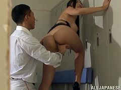 Check out this hardcore scene where the sexy Asian hottie Reiko Kobayaka is nailed by this guy's big cock.