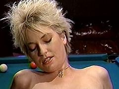 Short haired blond colored lustful chick lied leg spread on sofa and got her saggy smelly twat turbulently eaten by her sandy colored hot tempered bitchy babe. Watch this billiard table lesbo fuck in The Classic Porn sex clip!