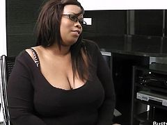 This fat bitch loves sucking on cock as much as she loves sucking on cakes and pies. She sucks this skinny white guys cock and then rides him. She's such a fat bitch that she almost squashes him under her girth.