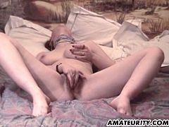 This horny and busty amateur housewife loves hardcore sex.Watch how she strips her clothes off and show those big boobs and masturbates her wet hairy pussy before getting fucked in her tight pussy and anal till she gets cummed on her tits.