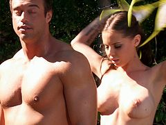 This video has a sexy bitch with big tits who is on her knees by the pool as she strives to give her man a great blowjob.