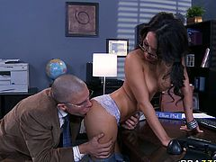 Dirty slag Asa Akira seduced her boss in the office. He kneads her titties and plays with her pussy. Later on she gets down on her knees taking his dick in her mouth. Asa gives him deepthroat blowjob.