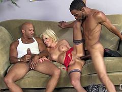 This white cougar has such a sexual appetite she needs to fuck two black guys at the same time to fully satisfy her needs.