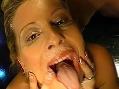 Slutty blonde loves being covered in jizz after having a great gang bang fuck