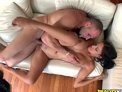 Pigtailed cutie Jamie Valentine takes her bra off and shows her massive boobs to some guy. Then she gives a blowjob to the stud and they bang in side-by-side and other positions afterwards.