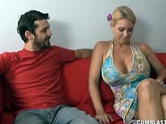 Charlee Chase is a blonde milf with massive jugs. She welcomes her neighbor in her home and treats him with a great handj