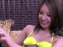 Leg spread Japanese sex pot rest on sofa and her kinky dude applies massive masturbator to please her hungry hairy twat and fingers it in addition. Watch this hardcore masturbation in Jav HD porn clip!