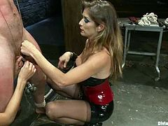 Felony and Gia Dimarco are two nasty mistresses. They tie a guy up and whip his ass. Later on they tortures his dick and toy the ass with a strap-on.