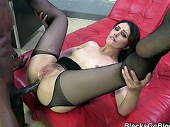 She is horny and wet and there is huge black dick for her nasty holes. This wild bro fucked hard and roughly this amazing cougar in her office.