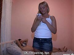 Sexy blonde Angelica wants to play a game! She ties her guy's hands and feet and, as he anxiously waits to get his dick sucked by her, she gives him the surprise! Angelica is a cheap whore that's looking for revenge so she calls this big dick dude and sucks him dry in front of the tied guy, what a bitch!