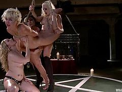 Aiden Starr, Lorelei Lee and some other girls are playing BDSM games in the locker room. One of the blondes gets bound by the other and enjoy it when the mistresses torture her and fist her holes simultaneously.