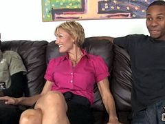 Cameron's dream finally comes true. She has interracial sex with two big cocked guys. She blows their big black cocks and gets her pussy fucked hard. She also gets her happy face cum covered.