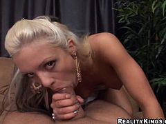Get excited watching this blonde babe, with a nice ass wearing a thong, while she goes really hardcore in an amateur reality video.