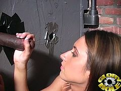 She is so hungry and she is going to show her hunger to that huge black cock out of a gloryhole! She knows how to work with her mouth for sure.