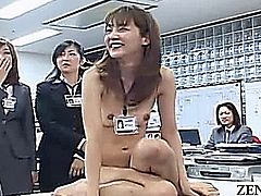 For reasons not explained a Japanese adult video company office is open to a group of fans who request to see female employees play strip rock paper scissors while also taking part in increasingly lewd levels of salacious games featuring extreme levels of CMNF and ENF embarrassment with subtitles