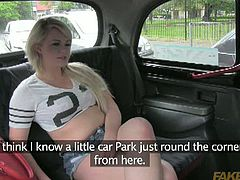 Bonnie is a busty blonde slut. She thinks the cab driver's chat line is stupid and she agrees to fuck him without further talking. He pulls over in a car park and bangs her.