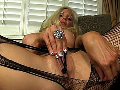 Busty milf shows off ripping her pantyhose to deep stimulate her needy fresh cunt