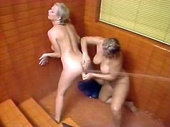 Watch two rich breasted blonde MILFs eating and fucking each other's soaking cunts with dildo in shower. Their big asses look gorgeous!