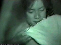 Even it is so dark, such obscene scenes are still very clear taken by a infrared camera. Watch these horny asian lovers fucking at night!