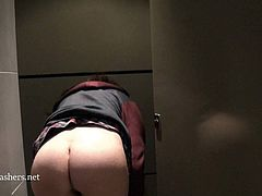Toilet voyeurs masturbation and sneaky peeking upskirt of Learner english geek grumble in A public restroom