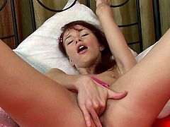 Insolent readhead feels amazing when deep fingering her shaved cunt in solo