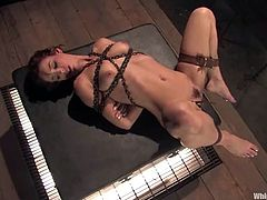 Brunette hottie Riley Shy is playing BDSM games with hot dominatrix Sasha Grey. Sasha binds Riley and fucks her mouth with a strapon before humiliating the skank in many ways.