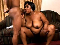 Lustful ebony BBW comes up to a guy who reads an erotic magazine. She gives him a blowjob and then gets fucked in her soaking pussy. She also gets facialed.
