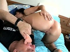 Naughty Brunette Hoe With Hot Ass Is Playing With Older Dude