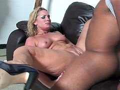 Her son bring two black friends to his house and when mom sees them she just need to fuck their big black cock. These guys enjoys fucking this cougar.