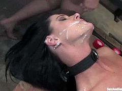 This smoking hot and gorgeous sex diva India Summer gets tied up on the bondage device. Mark lights up the candles on her tits and she sucks his cock so nice!