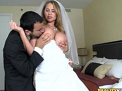 Busty bride gets her pussy destroyed at the wedding night