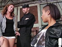 Maddy O'Reilly finds Skin Diamond alone with a man and tied to a chair. They are ready to dominate him in this abanoned warehouse and switch turns to suck him off.