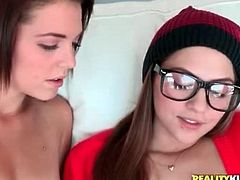 Kiera Winters and Cassie Laine lick hot pussy