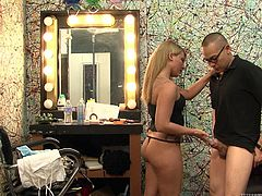 Kinky Asian guy Eric Jover is having fun with charming blonde Casey Cumz. Casey kneels in front of Eric and satisfies him by biting and sucking his prick.