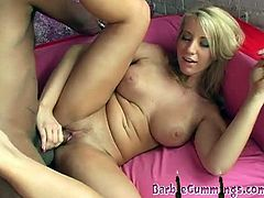 Shorty Mac has the right type of cock for Barb Cummings. She loves cocks big and black, as well as thick cum. Shorty Mac cums two times in a row in her fanny.