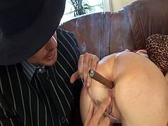 At first, two young brunettes pay for something they don't have money for with all their holes. One guy destroys their anuses and pees on them. Then, a blonde milf pays by taking two big cocks in her holes.