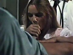Yet another wild retro MMF threesome! Lusty young nurse gives blowjob to her surgeon while the other doctor licks her soaking wet hairy pussy.