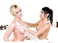 Angela Sommers with huge breasts and clean beaver taking dildo in her twat