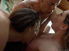 Superb Chanel Preston and Bailey Blue lick each others asses. Then girls give passionate deepthroat blowjob to Rocco Siffredi and get fucked rough in their asses.