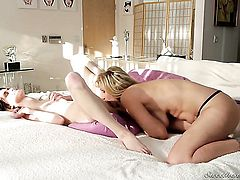 Yummy porn diva Jay Taylor and Julia Ann enjoy lesbian sex session they will never forget